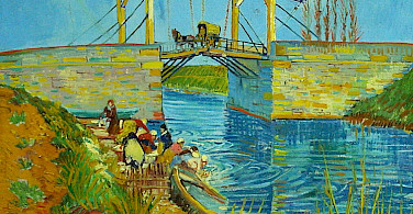 Langlois Bridge at Arles with Women Washing by Vincent van Gogh.