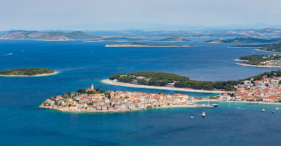 Overlooking Primošten along the Dalmatian Coast in Croatia. Flickr:Hotel Zora Primosten