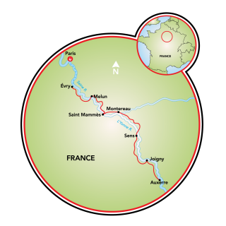 Burgundy - Paris to Auxerre Map