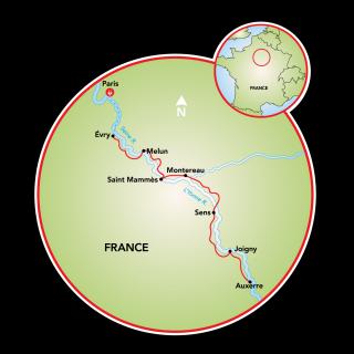 Burgundy - Paris to Auxerre Map