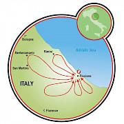 Riccione - Pueblos y Castillos Mapa