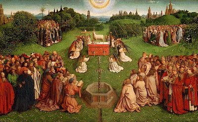 <i>Adoration of the Lamb</i> by Jan van Eyck in St. Bavo's Cathedral, Ghent, East Flanders, Belgium.