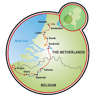 Tulip Tour - Bruges to Amsterdam Map