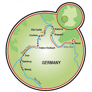 Mainz to Merzig Map
