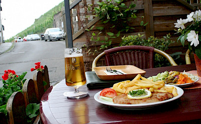 Schnitzel and beer at the Mosel in Germany. Flickr:Megan Cole