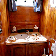 Private facilities in each cabin aboard the Mariagiovanna