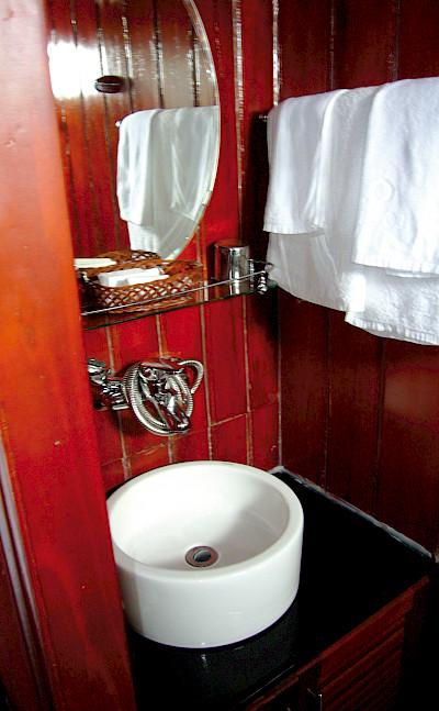 Cabin Bathroom - Vietnamese Junks | Bike & Boat Tours
