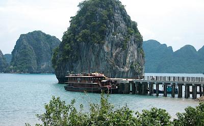 Vietnamese Junk - docked and waiting - Bike & Boat Tours