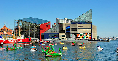 Baltimore's famous National Aquarium and Harbor. Photo via Wikimedia Commons:AndrewHorne