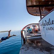 Yes swimming off Andela Lora - Croatia Bike Boat Tours