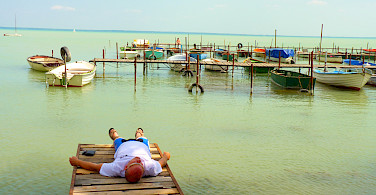 Relaxing during the Bike Tour on Lake Balaton in Hungary.