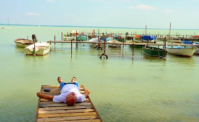 Relaxing during the Bike Tour on Lake Balaton in Hungary.