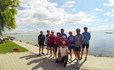 Group photo on Bike Tour on Lake Balaton in Hungary.