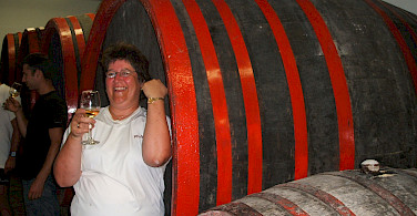 Wine tasting on Lake Balaton Bike Tour in Hungary.
