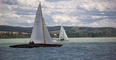 Boats in Tihany on Bike Tour on Lake Balaton in Hungary.