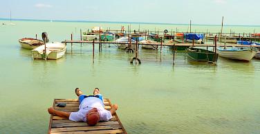 Relaxing during the Lake Balaton Hungary Bike Tour.