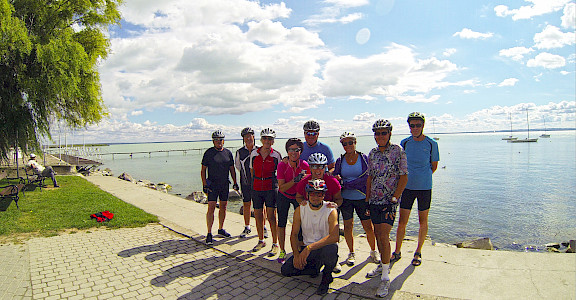 Group photo on Lake Balaton Hungary Bike Tour.