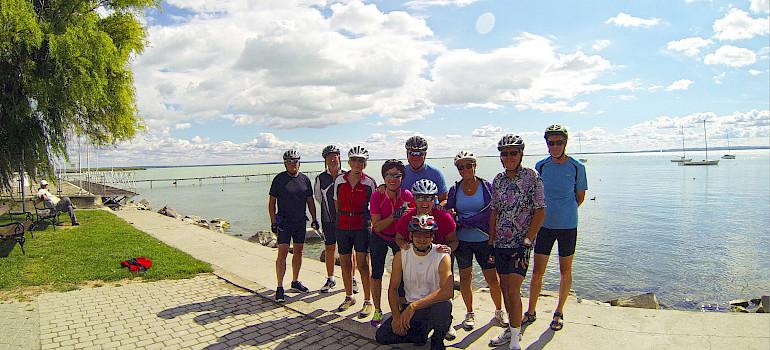 Group photo on Lake Balaton Hungary Bike Tour.