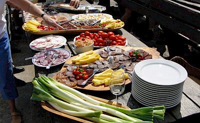 Buffet lunch during the Lake Balaton Hungary Bike Tour.