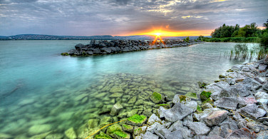 Sunset on Lake Balaton Hungary Bike Tour.