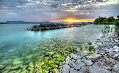 Sunset on Lake Balaton Hungary Bike Tour.