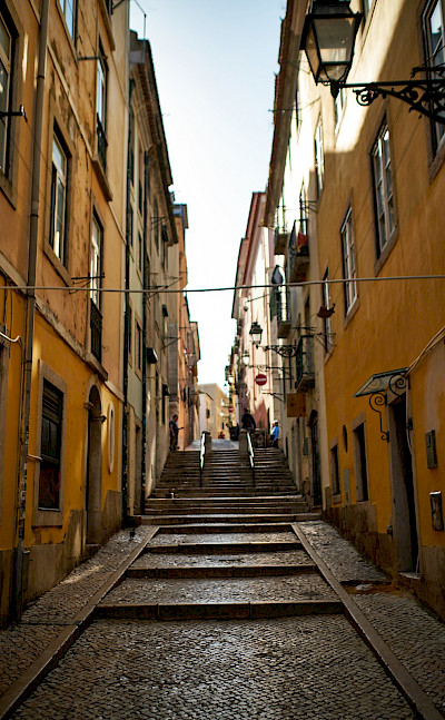 Quiet street in Lisbon, Portugal. Flickr:Luca Sartoni