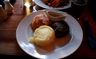 Haggis, neeps and tatties is a traditional dish in Scotland. Flickr:Phillip