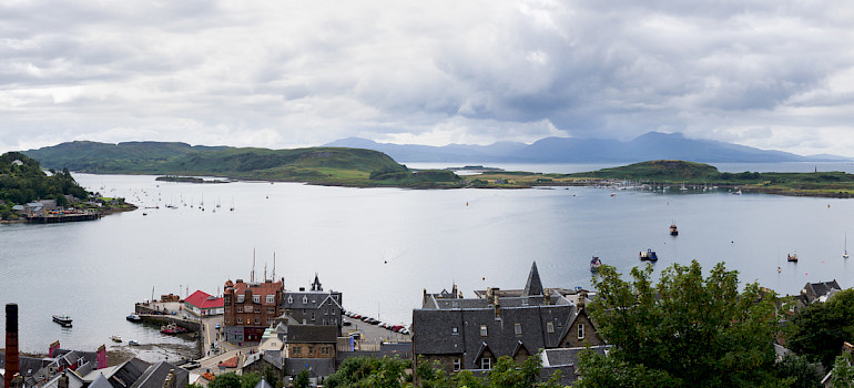 Oban Bay as seen from McCaig's Tower, Scotland. Photo via Flickr:User:Colin