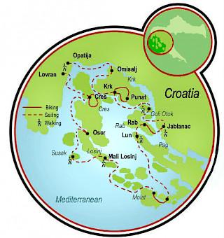 Viaje de aventuras en la bahía Kvarner Map