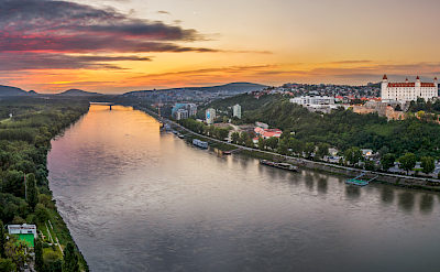 Danube river at sunrise in Bratislava, Slovak Republic.