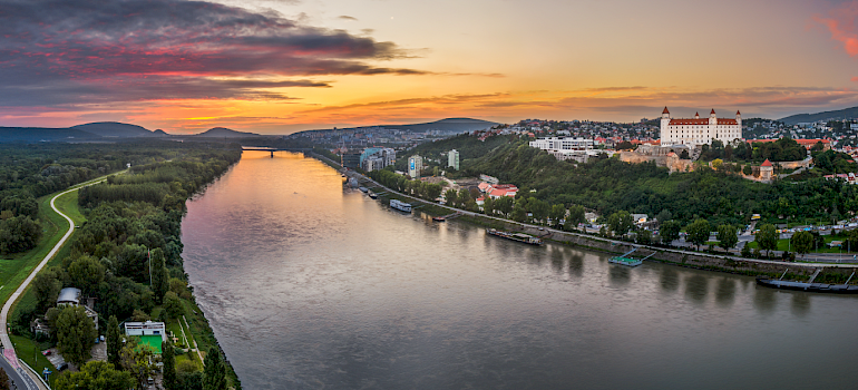 Danube river at sunrise.