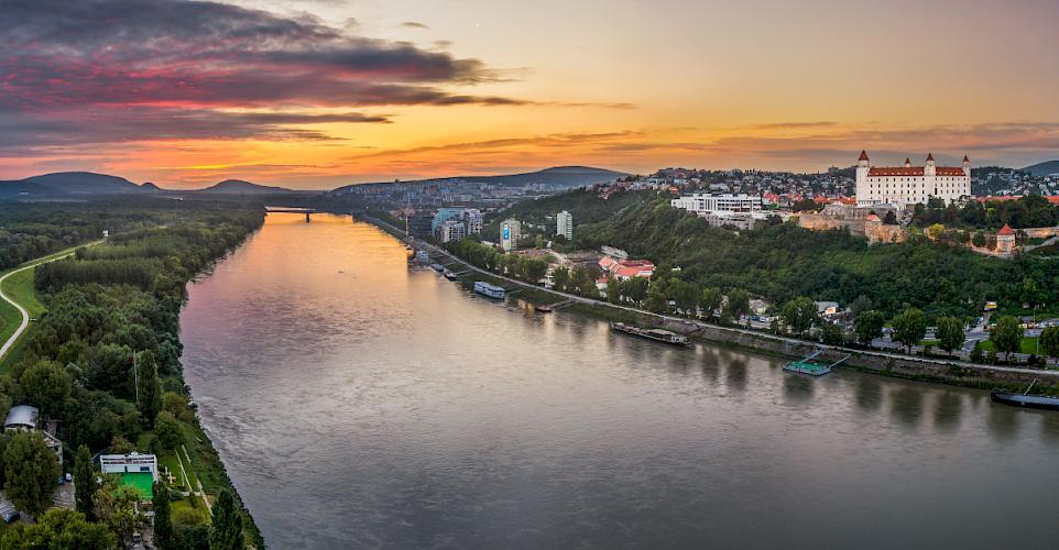 Danube river at sunrise in Bratislava, Slovak Republic.
