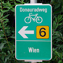 Popular bike path signs 'Donauradweg' guide you on this bike tour. 'Wien' is Vienna. Flickr:MuntyPix