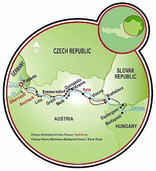 Viaje a cuatro países por el Danubio Map