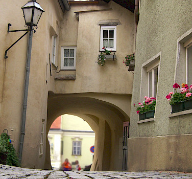 Cobblestone street in Krems, Austria. Photo via Flickr:Mikel Ortega
