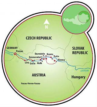 Por el Danubio – Passau a Viena Map