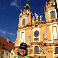 TripSite biker Emily Hull-Parsons at the Abby in Melk, Austria. Photo by Emily.