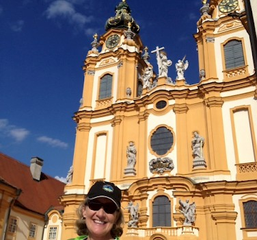 TripSite biker at the Abby in Melk, Austria. Photo from Emily Hull-Parsons