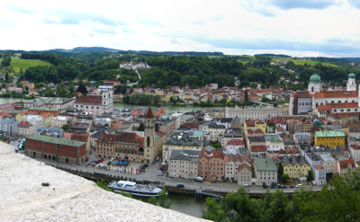 Panoramic of Passau (City of 3 Rivers), Germany. Photo via Flickr:Brian Burger