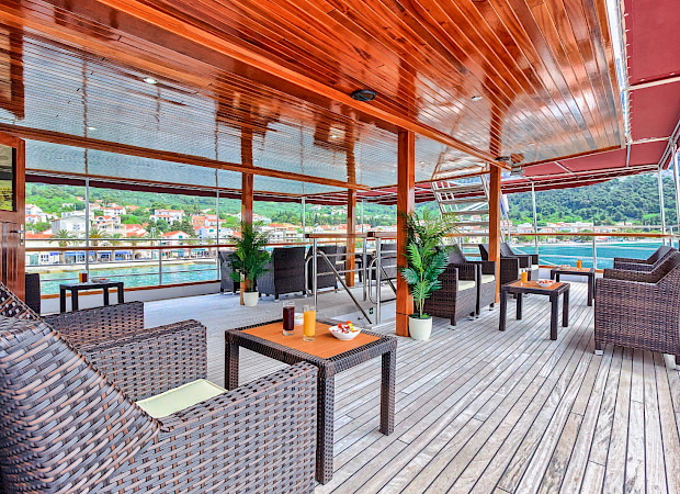 Deck Lounge on the Harmonia | Bike & Boat Tours