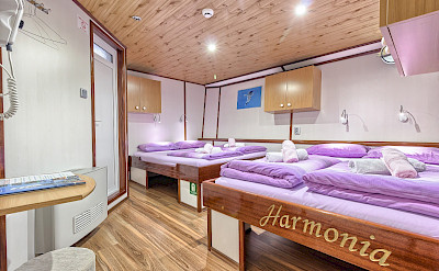Quad Cabin on Harmonia (2 Double Beds) | Bike & Boat Tours