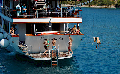 Swimming Platform on the Harmonia | Bike & Boat Tours