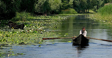 Fishing and boating on the Danube Delta. Photo via Wikimedia Commons:Spiridon MANOLIU