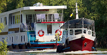 Your boat, aka floating hotel during the Danube Delta Romania Bike & Boat Tour.