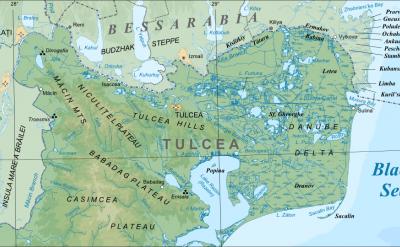 Map of the Danube Delta in Tulcea County, Romania. CC:Orion 8