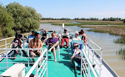 Relaxing on the boat/floating hotel on the Danube Delta, Tulcea County, Romania.