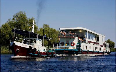 Hotel boat. Danube Delta Bike Tour in Romania. Photo via TO