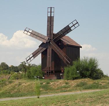 Windmill in Tulcea, Romania. Photo via Flickr:Brian Lowe