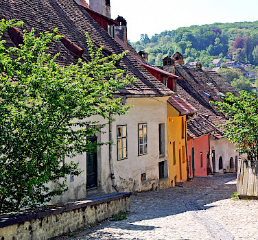 Street below the Clock Tower, Sighisoara, Transylvania, Romania. Photo via Flickr:Dennis Jarvis
