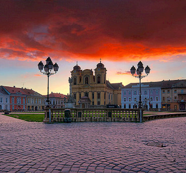 Union Square in Timisoara, Romania. Photo via Wikimedia Commons:Antonius Plaian